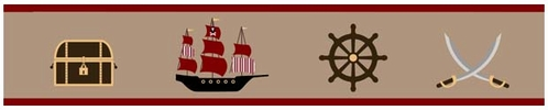 Treasure Cove Pirate Baby and Kids Wall Border by Sweet Jojo Designs - Click to enlarge