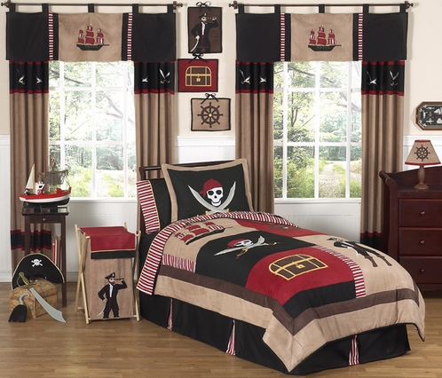 Treasure Cove Pirate Childrens Bedding - 4 pc Twin Set - Click to enlarge