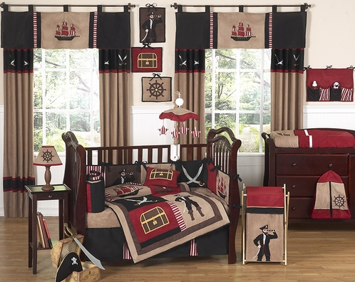 Treasure Cove Pirate Baby Bedding - 9 pc Crib Set - Click to enlarge