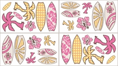 Tropical Hawaiian Baby and Kids Wall Decal Stickers for Surf Bedding - Set of 4 Sheets