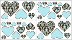 Turquoise and Brown Bella Baby and Kids Wall Decal Stickers - Set of 4 Sheets