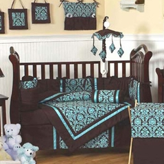 Turquoise and Brown Bella Baby Bedding - 9 pc Crib Set