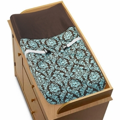 Turquoise and Brown Bella Baby Changing Pad Cover by Sweet Jojo Designs