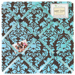 Turquoise and Brown Bella Fabric Memory/Memo Photo Bulletin Board