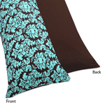 Turquoise and Brown Bella Full Length Double Zippered Body Pillow Case Cover by Sweet Jojo Designs