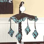 Turquoise and Brown Bella Musical Baby Crib Mobile by Sweet Jojo Designs