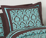Turquoise and Brown Bella Pillow Sham