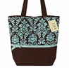 Turquoise and Brown Damask Print Handbag (Great for Diaper Bag, Tote Bag, Purse or Beach Bag)