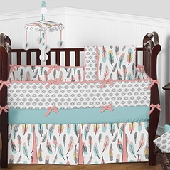 Turquoise and Coral Aztec Feather Baby Bedding - 9pc Girls Crib Set