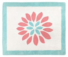 Turquoise and Coral Emma Accent Floor Rug by Sweet Jojo Designs