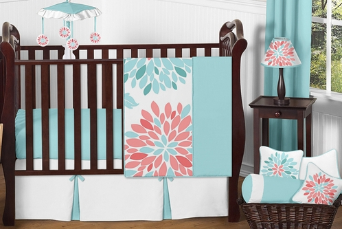 Turquoise and Coral Emma Baby Bedding - 4pc Girls Crib Set by Sweet Jojo Designs - Click to enlarge