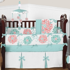 Turquoise and Coral Emma Baby Bedding - 9 pc Crib Set by Sweet Jojo Designs