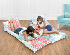 Turquoise and Coral Emma Collection Kids Teen Floor Pillow Case Lounger Cushion Cover by Sweet Jojo Designs