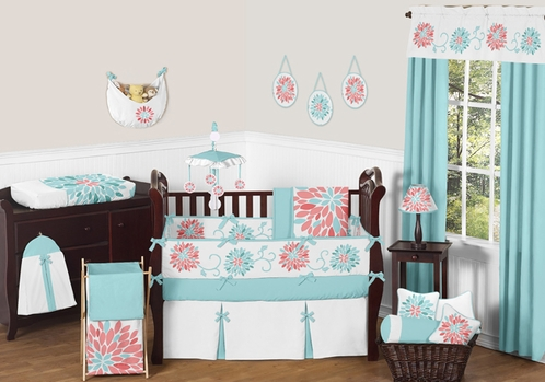 turquoise and coral emma baby bedding 9pc crib set by sweet jojo