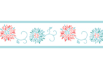 Turquoise and Coral Emma Girls Childrens and Teens Wall Paper Border