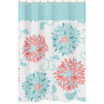 Turquoise and Coral Emma Kids Bathroom Fabric Bath Shower Curtain