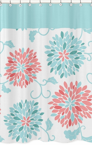 Turquoise and Coral Emma Kids Bathroom Fabric Bath Shower Curtain ...