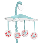 Turquoise and Coral Emma Musical Baby Crib Mobile by Sweet Jojo Designs