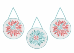 Turquoise and Coral Emma Wall Hanging Accessories by Sweet Jojo Designs