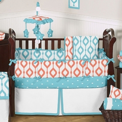 Turquoise and Coral Mod Waves Baby Bedding - 9 pc Crib Set by Sweet Jojo Designs
