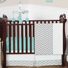 Turquoise and Gray Chevron Zig Zag Baby Bedding - 11pc Crib Set by Sweet Jojo Designs