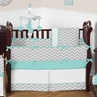 Turquoise and Gray Chevron Zig Zag Baby Bedding - 9 pc Crib Set by Sweet Jojo Designs