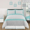 Turquoise and Gray Chevron Zig Zag Childrens and Kids Bedding - 3pc Full / Queen Set by Sweet Jojo Designs