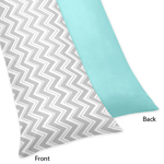 Turquoise and Gray Chevron Zig Zag Full Length Double Zippered Body Pillow Case Cover by Sweet Jojo Designs