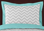 Turquoise and Gray Chevron Zig Zag Pillow Sham by Sweet Jojo Designs
