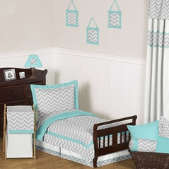 Turquoise and Gray Chevron Zig Zag Toddler Bedding - 5pc Set by Sweet Jojo Designs