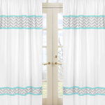 Turquoise and Gray Chevron Zig Zag Window Treatment Panels by Sweet Jojo Designs - Set of 2