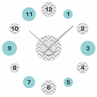 Turquoise and Grey Chevron Zig Zag DIY Clock and Decal Set