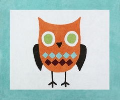 Turquoise and Lime Hooty Owl Accent Floor Rug by Sweet Jojo Designs
