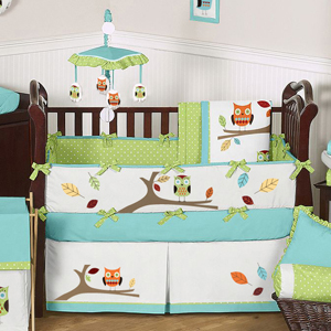 JoJo Designs Turquoise and Lime Hooty Owl Baby Bedding - 9 pc Crib Set