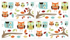 Turquoise and Lime Hooty Owl Baby, Childrens and Kids Wall Decal Stickers by Sweet Jojo Designs - Set of 4 Sheets