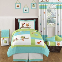 turquoise and lime hooty owl childrens and kids bedding set 4 pc twin set bedding sets twin kids