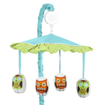 Turquoise and Lime Hooty Owl Musical Baby Crib Mobile by Sweet Jojo Designs