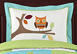 Turquoise and Lime Hooty Owl Pillow Sham by Sweet Jojo Designs