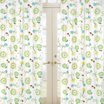 Turquoise and Lime Layla Floral Print Window Treatment Panels - Set of 2