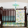 Turquoise and Lime Layla Girls Boutique Baby Bedding - 11pc Crib Set