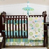 Turquoise and Lime Layla Girls Boutique Baby Bedding - 9pc Crib Set