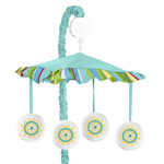 Turquoise and Lime Layla Musical Baby Crib Mobile by Sweet Jojo Designs