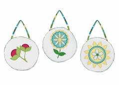 Turquoise and Lime Layla Wall Hanging Accessories by Sweet Jojo Designs