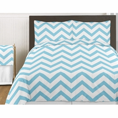Turquoise and White Chevron 4pc Childrens and Kids Zig Zag Twin Bedding Set Collection