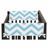 Turquoise and White Chevron Baby Crib Side Rail Guard Covers by Sweet Jojo Designs - Set of 2