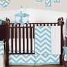 Turquoise and White Chevron ZigZag Baby Bedding - 11pc Crib Set by Sweet Jojo Designs
