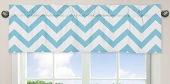 Turquoise and White Chevron�Collection Zig Zag Window Valance