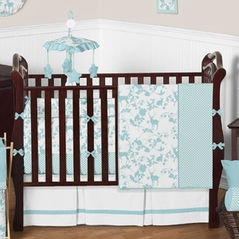 Turquoise and White Woodlands Baby Bedding - 9 pc Crib Set by Sweet Jojo Designs