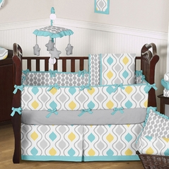 Turquoise, Yellow and Grey Sunny Day Baby Bedding - 9 pc Crib Set by Sweet Jojo Designs