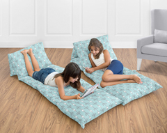Turquoise Blue and Grey Arrow Kids Teen Floor Pillow Case Lounger Cushion Cover by Sweet Jojo Designs